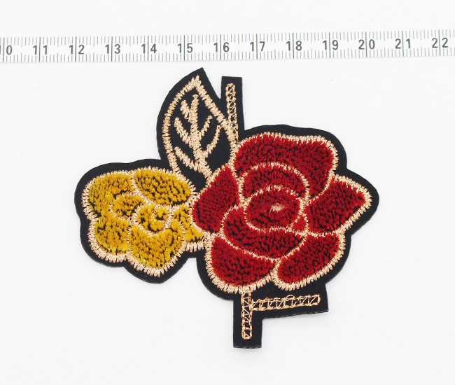 High quality woven clothes patch , hand embroidery flowers designs
