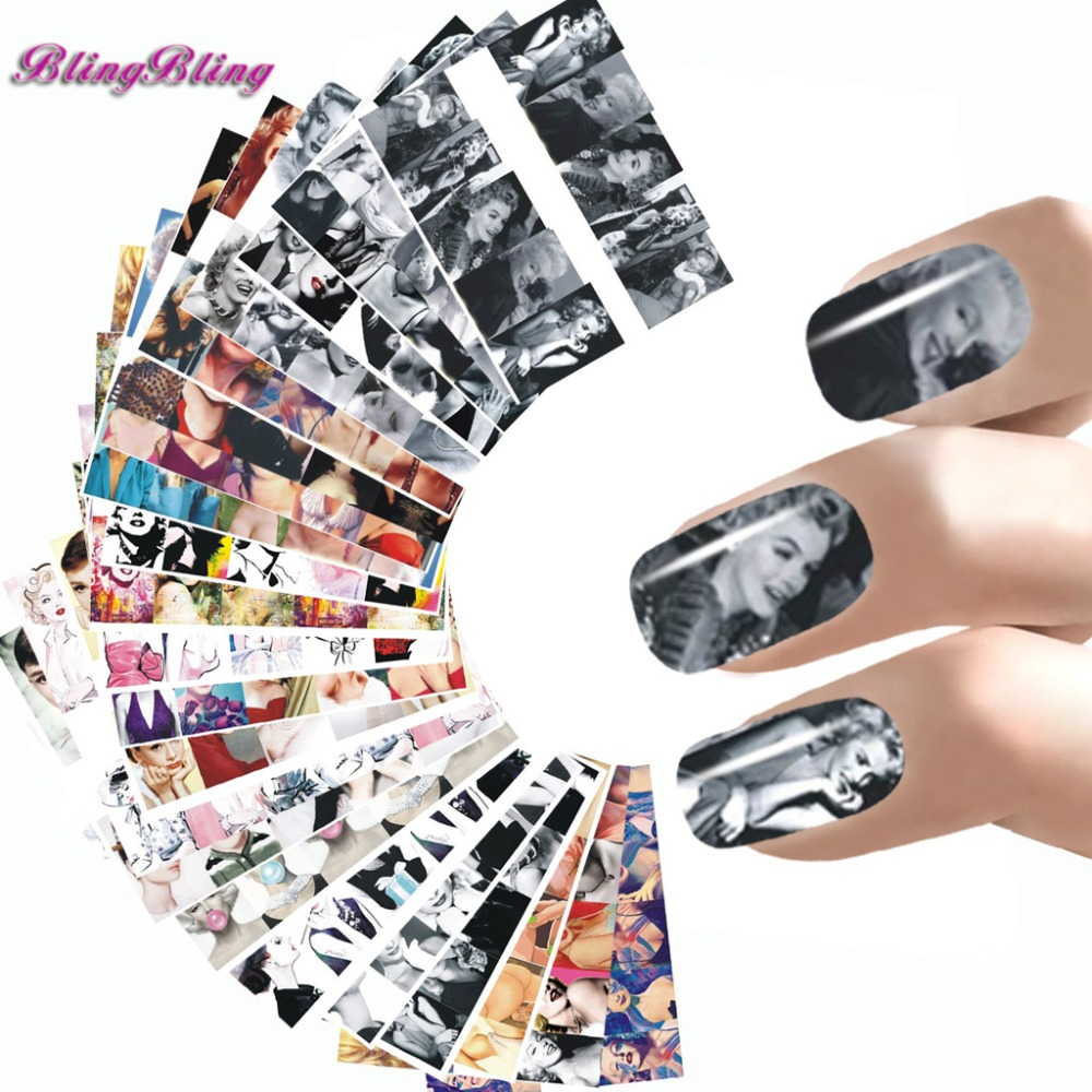 24 Kinds Of Styles Nail Wraps Beauty Water Transfer Nail Art StickersAudrey  Hepburnl Marilyn Monroe Foils Manicure Decals 131ca93575e3