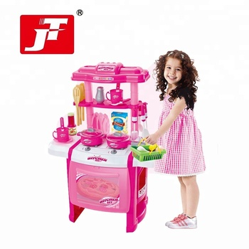 Girl Indoor Role Play Electronic Mini Kitchen Set Toy With Music