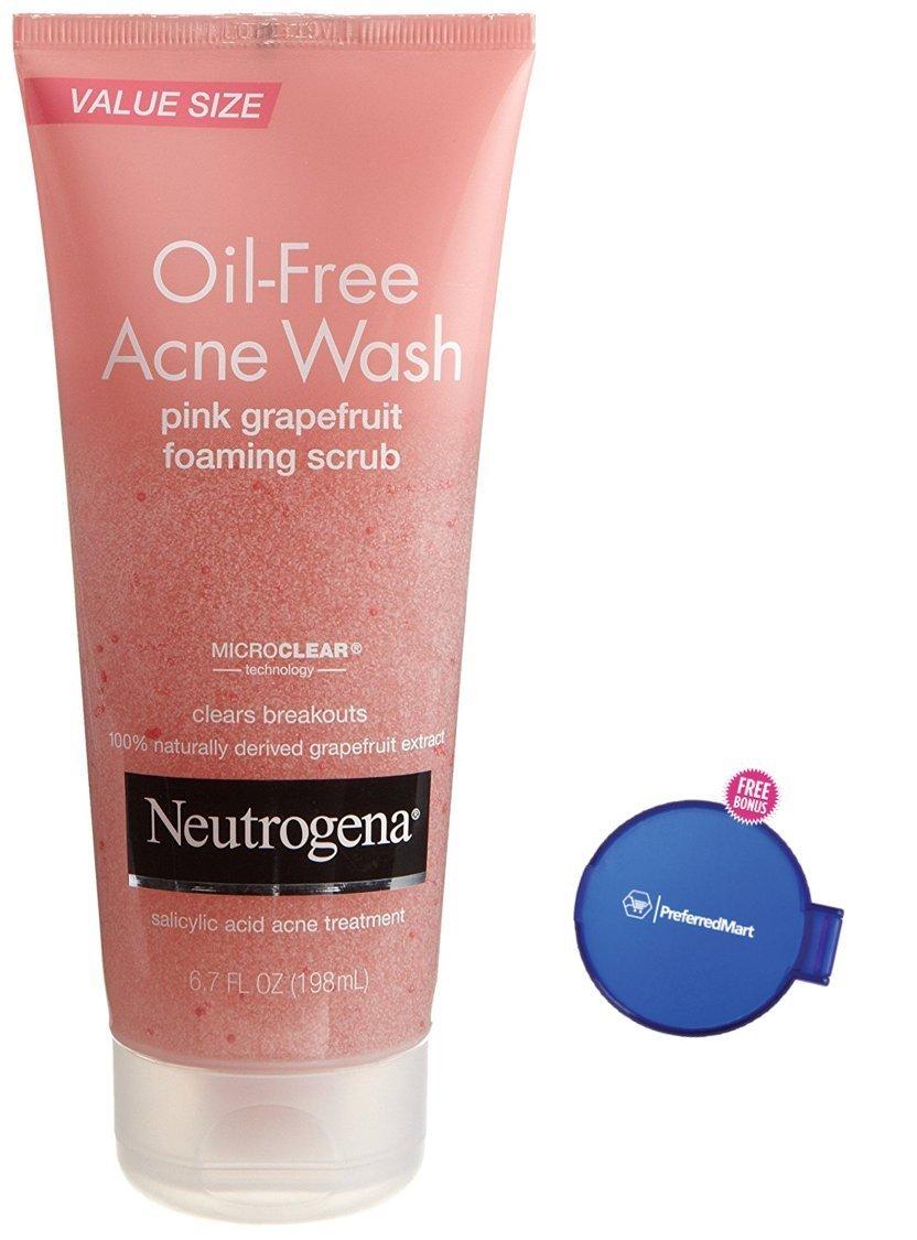 Neutrogena Oil-Free Acne Wash Scrub, Pink Grapefruit, Value Size, 6.7 Ounce, Plus Bonus Free Mirror