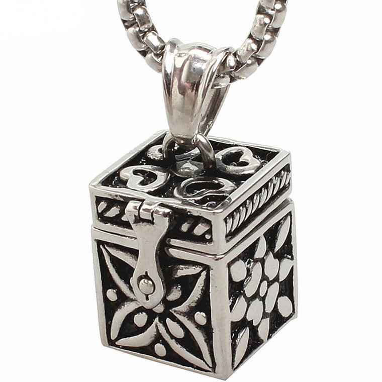 Stainless Steel Cuboid Prayer Box Pendant Cremation Urn Necklace Ash Memorial Jewelry(