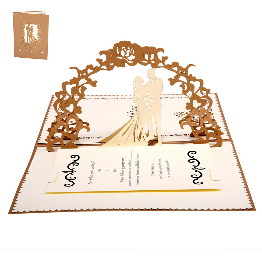 White Red golden Handmade laser Cut <strong>Wedding</strong> <strong>Invitations</strong> 3D Pop Up Card