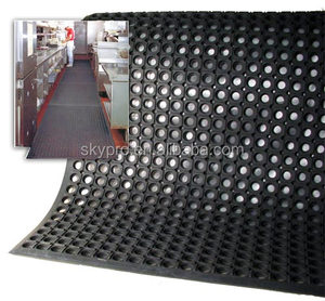 Black Anti-slip Kitchen grease-oil-proof anti-fatigue perforated decompression Big Ring rubber mats