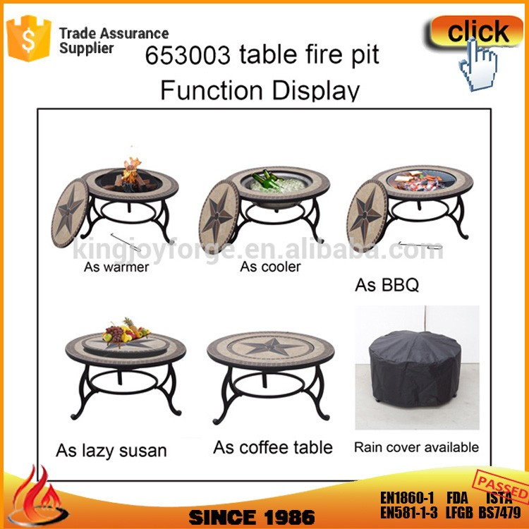 3 In 1 Wood Fire Natural Slate Mosaic Star Top Pit Dining Table Outdoor Product On