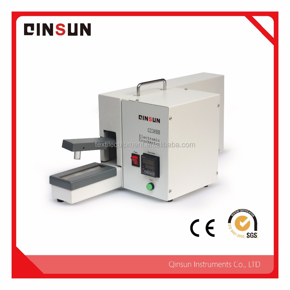 Rubbing Fastness Tester used to determine color fastness of materials to wet and dry rubbing