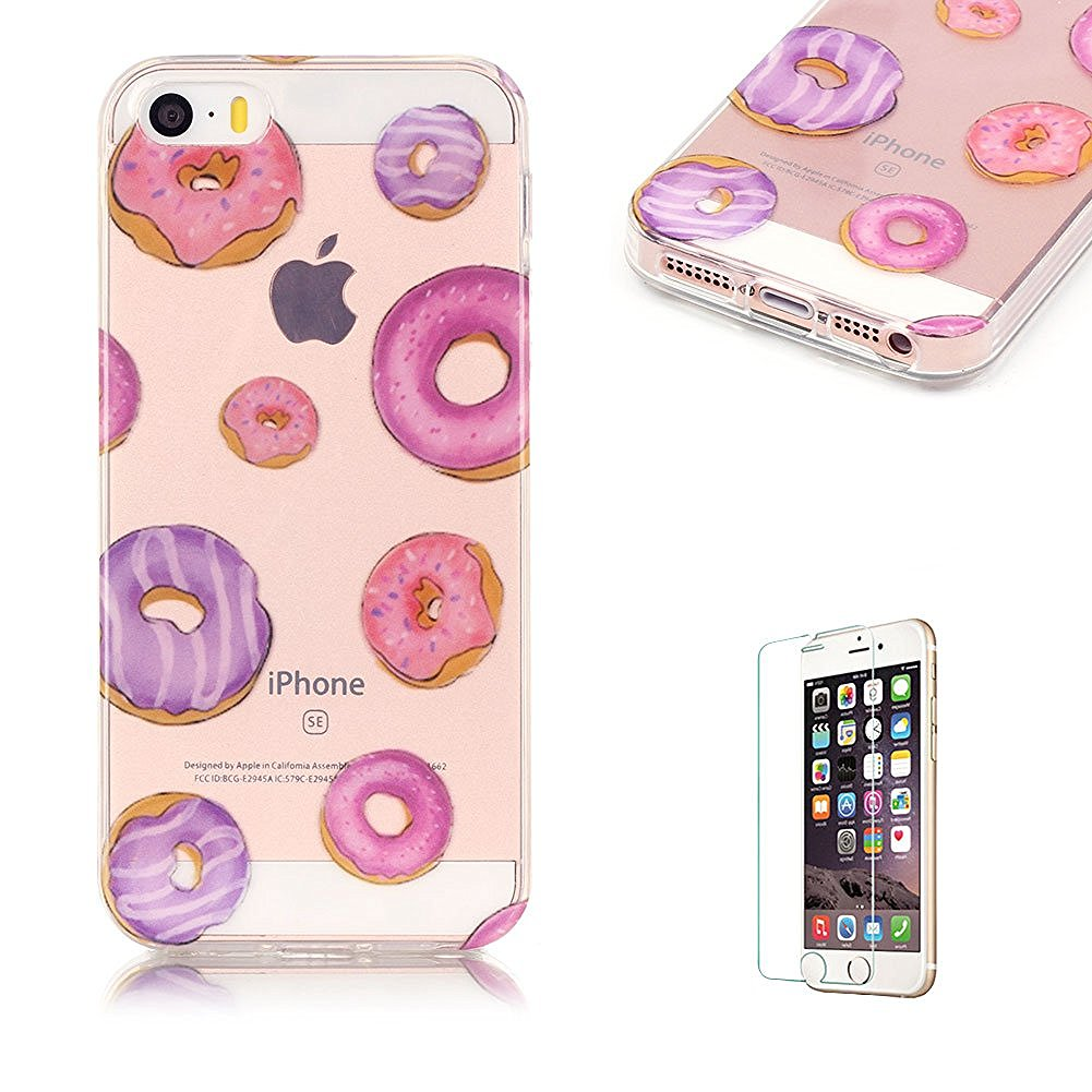 iPhone SE/iPhone 5/5S TPU Case with Free Screen Protector,Funyye See Through Transparent Soft Rubber Silicone Gel TPU Bumper Ultra Thin Colourful Print Design Protective Case - Donuts