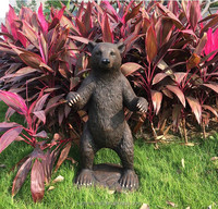 Polyresin fiberglass decorative outdoor life size bear statue