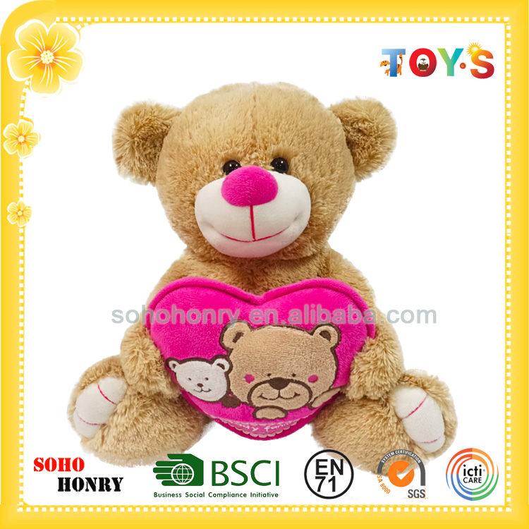 2016 New Design Custom Plush Teddy Bear Funny Stuffed Toy with Love Heart for Valentine Day Gifts