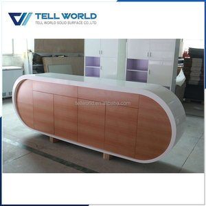 Customized! Modern office desk design back cabinet