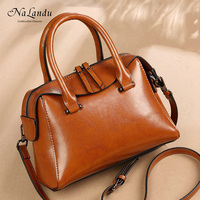 Top quality vintage messenger bags best design tote bag for lady boston cow leather handbag