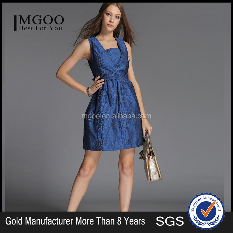 MGOO OEM Services Custom Brand Women Fashion Elegant Dress Jacquard Weave Blue Clothing A Line Sexy Club Dress W51011