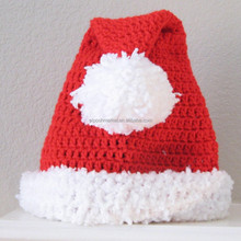 Knitted Christmas Holiday Hats Traditional Red Santa Holiday Hat with Pompom