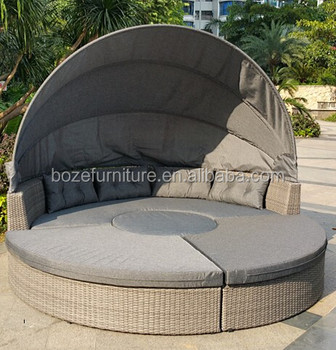 Garden Furniture Sets Wicker Round Sun Bed Outdoor Wicker Lounge