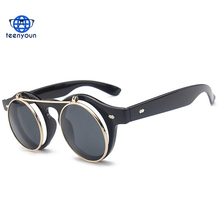 Vintage Clear Lens sunglasses Steampunk Sunglasses Costume Geek Doctor Style Round Circle Clamshell lentes Flip Up Eyewear