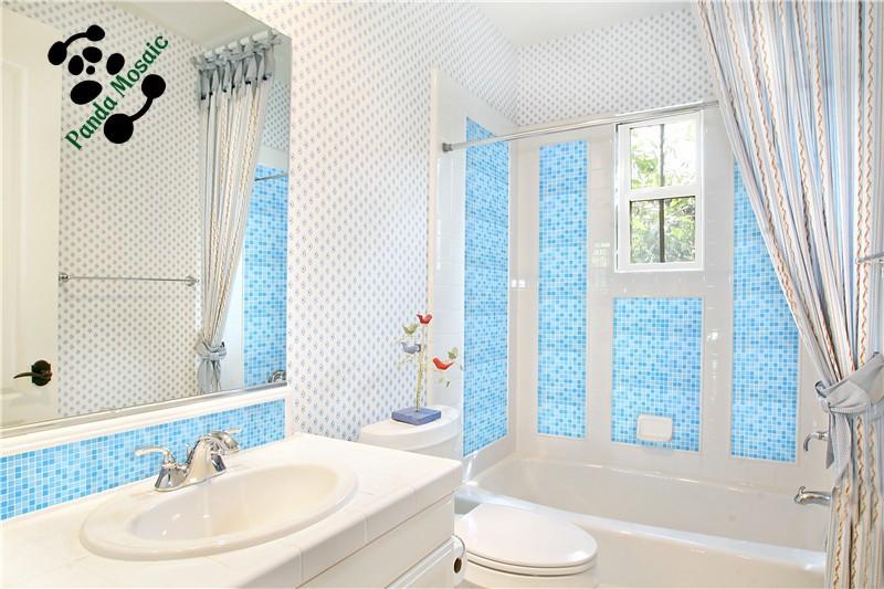 de mosaïque de verre bleu pas cher carrelage salle de bainsMosaïque