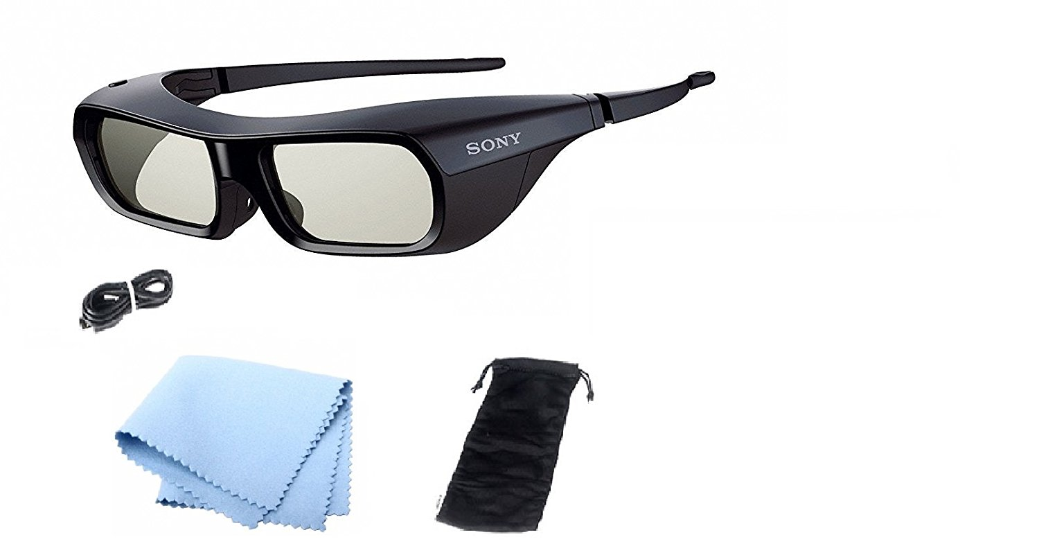 Sony TDG-BR250/B Rechargeable 3D Adult Glasses, Black With Cleaning Cloth