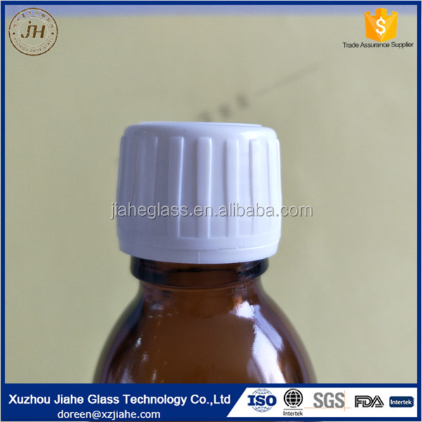 Child proof safe seal cap for dry cough syrup amber glass bottle