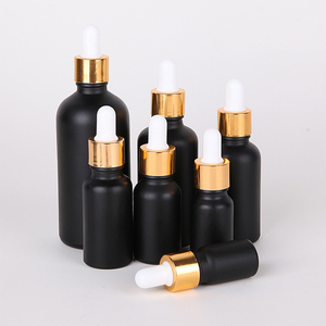 10ml 15ml 20ml 30ml 50ml 100ml frosted matte black round essential oil glass dropper bottle with gold dropper