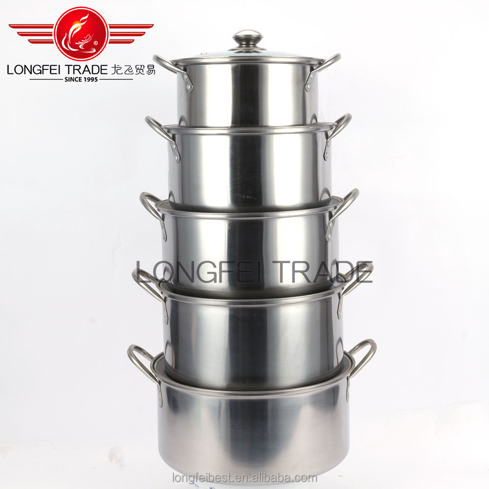 2016 dia meter 24-30cm 5pcs Kitchen Cooking Appliance non-magnetic stainless steel stock pot