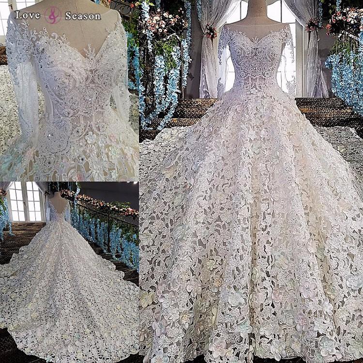 Ls00152 Long Sleeve White V Back China Custom Made Wedding Dress ...