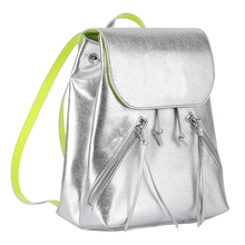 OEM manufacturer silver color PU leather with front cover leisure use shoulder backpack