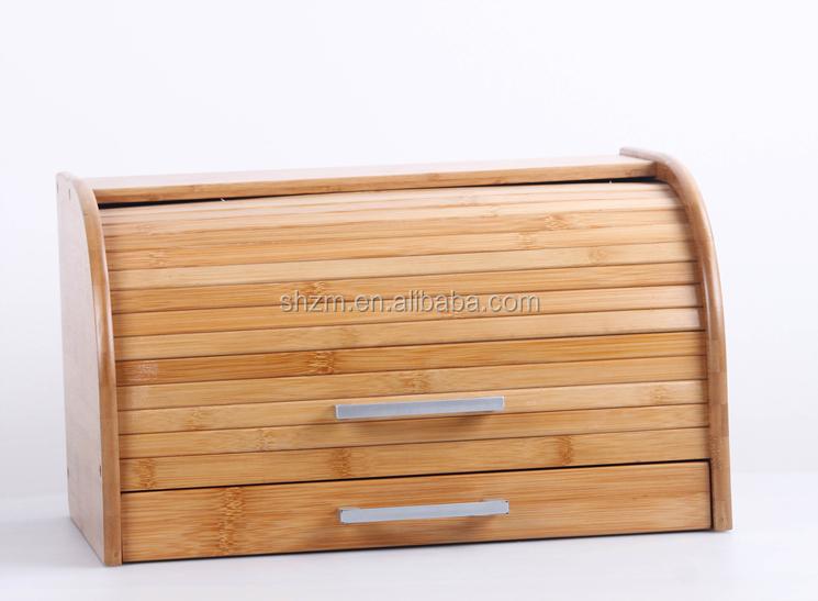 Gros bo te pain en bambou durable bo te de rangement en bois avec tiroir de - Boite a pain en bois ...