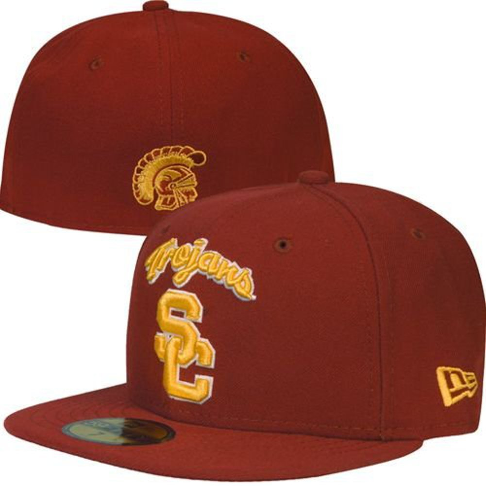 dfa8b70d729 Get Quotations · NEW ERA 59fifty Hat USC Trojans Fitted College Ac Script  Cardinal Red Cap