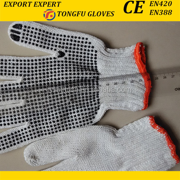 Cheap T/C Liner With One-Side PVC Dots Hand Gloves Direct Buy China 7G 10 G PVC Dotted Knitted Cotton Hand Work Glove EN388