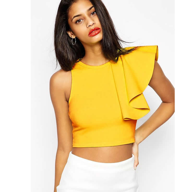 68e28a9ee24046 Buy Fashion summer tops cropped 2015 Black Yellow One-shoulder Ruffle  bustier crop top Casual fitness tank top vest women shirts in Cheap Price  on ...