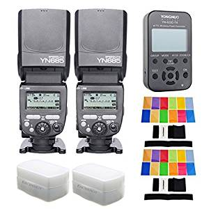 YONGNUO 2PCS YN685 Wireless HSS TTL Speedlite Flash Build in Receiver Worked with YN622C YN622II-C YN622C-TX YN560IV YN560TX RF605 + 622C-TX Transmitter + 2 PCS EACHSHOT® Filter+2 PCS Diffuser