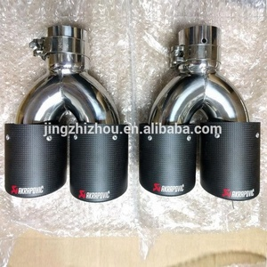 JZZ Custom Akrapovic Carbon Fiber exhaust tips tail pipe for bmw e36 e46 m3 muffler with clamp