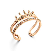 Rose gold plated wedding accessories crystal ring crown diamond engagement ring