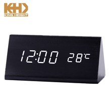 KH-0145 Modern LED Wooden Alarm Digital Desk Clock Thermometer Classical Time Calendar Updated Brighter LED Triangle Wood Clock