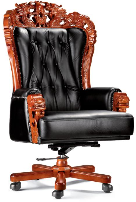 High End Elegant Ceo Office Chair Boss Executive Throne With Wooden Base Foh A08