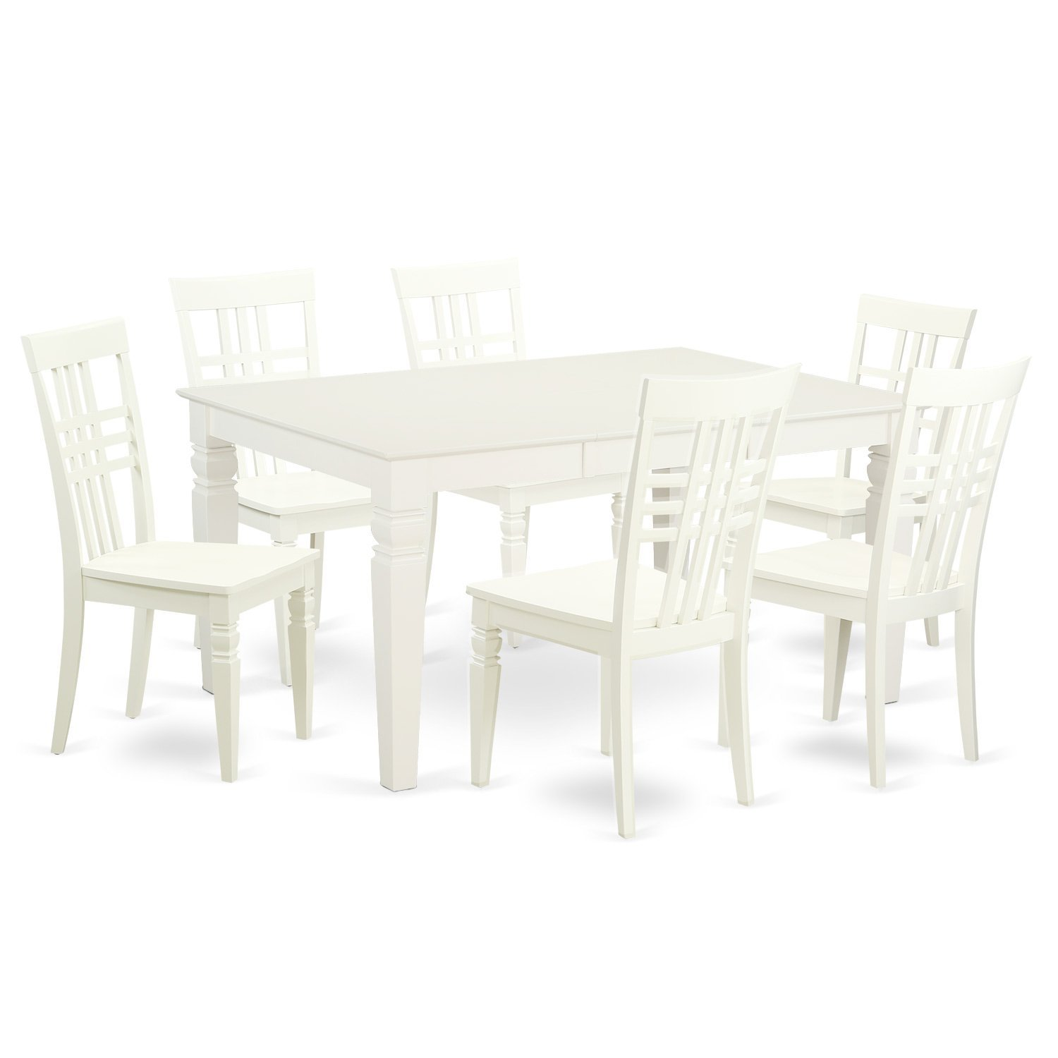 East West Furniture WELG7-LWH-W 7Piece Rectangular Weston Kitchen Table & Six Wood Chairs for Dining Room in Linen White Finish