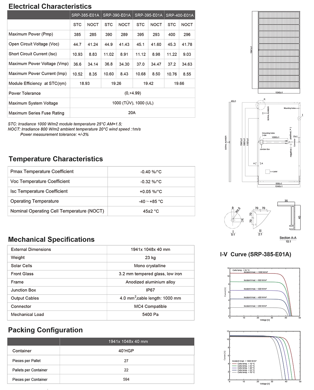 High efficiency 385w 395w 400watt solar panel mono solar panel system home