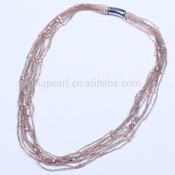 bfb981c51281 Perlas cultivadas semilla cristal checo collar de cuentas para las mujeres  imán