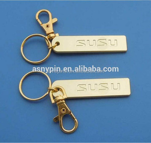 engraving famous car brand gold tone with Lobster Clasp keychain