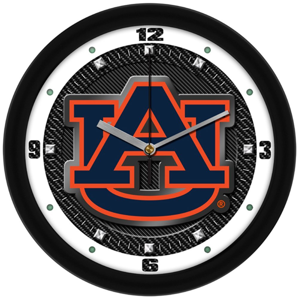"Auburn Tigers 'AU"" Logo on Carbon Fiber Textured Background 12"" Wall Clock"