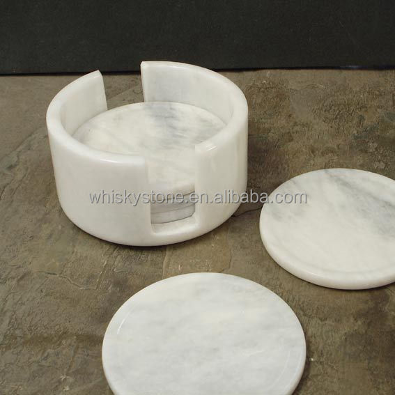 Custom Logo Circular Marble Stone Coasters With Cork Back