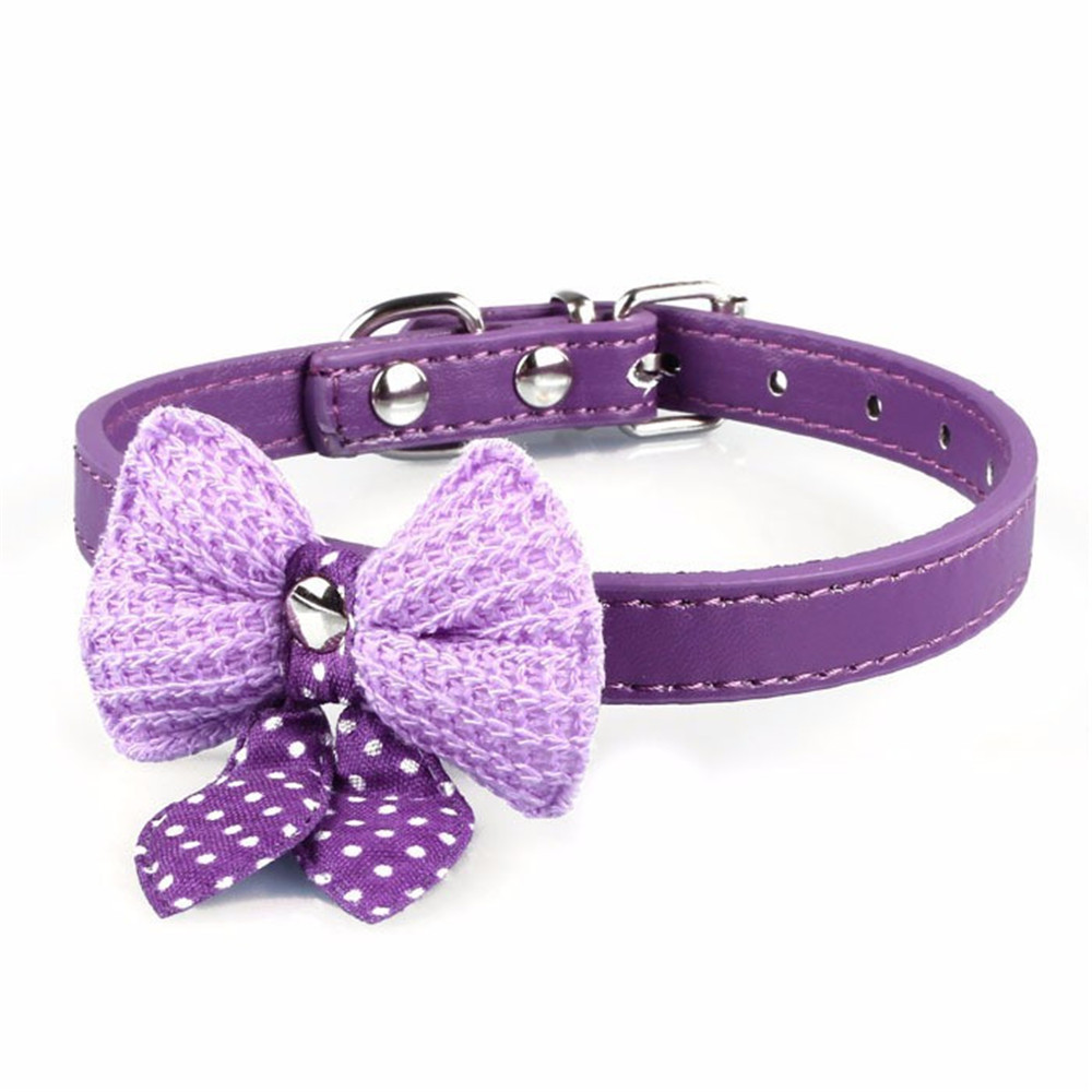 Puppy Dog Accessories Necklace Bow Collars Leather Collar for Cats