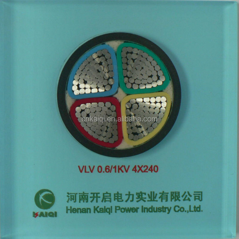 Power cable 0.6/1KV 4core Aluminum conductor PVC insulation PVC sheath