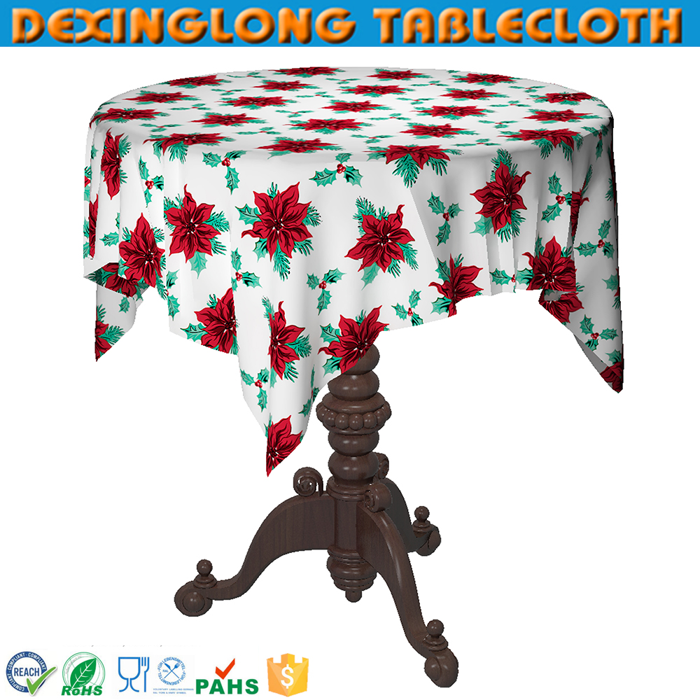 Disposable 60 Inch Round Christmas Tablecloth Plastic Table Cloth