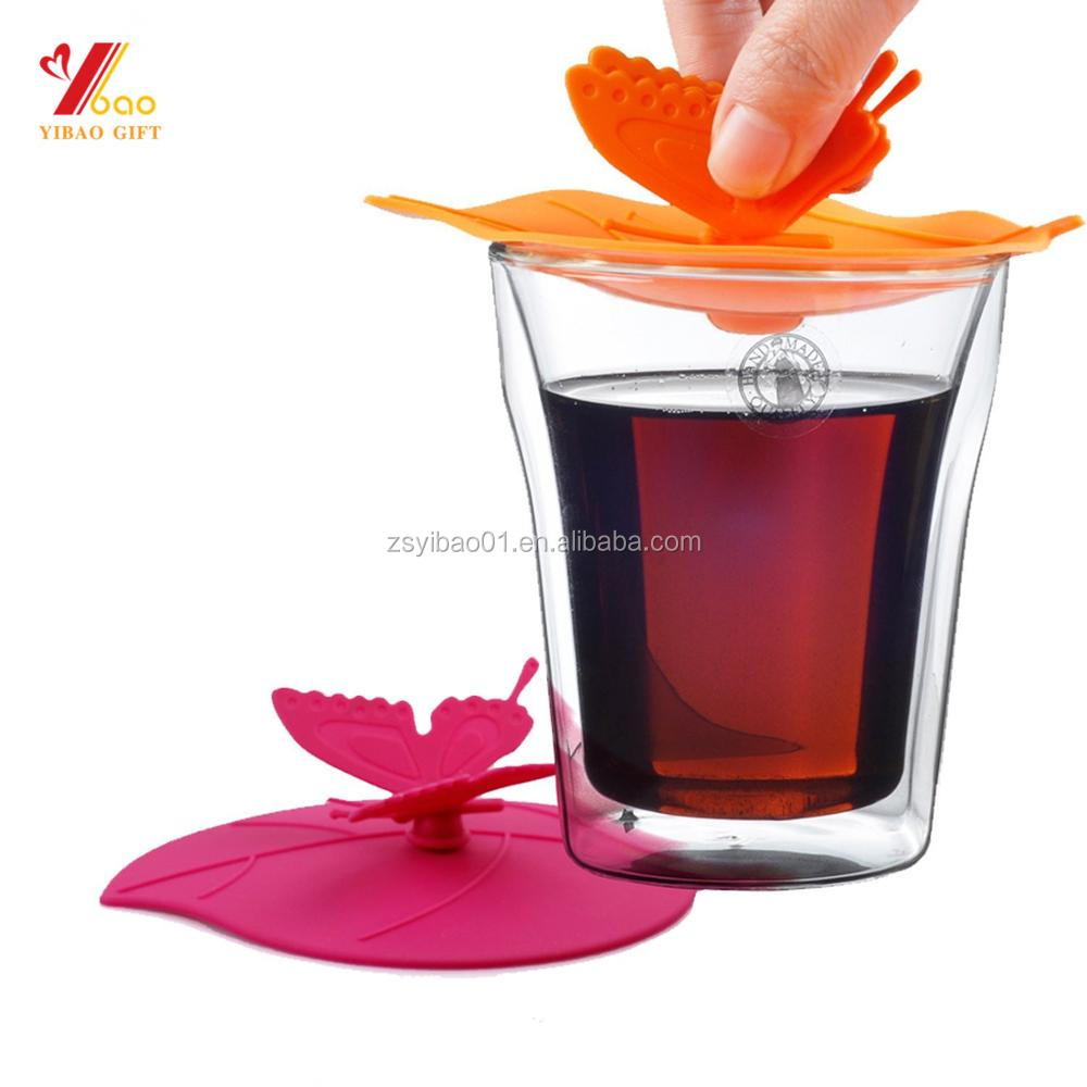 Creative Butterfly Mug Cover Anti-dust Airtight Seal Silicone Drink Cup Lids
