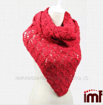 4108f268cb97 Filles Rouge Crochet Main Triangle Tricoté Châle Écharpe En Cachemire ...