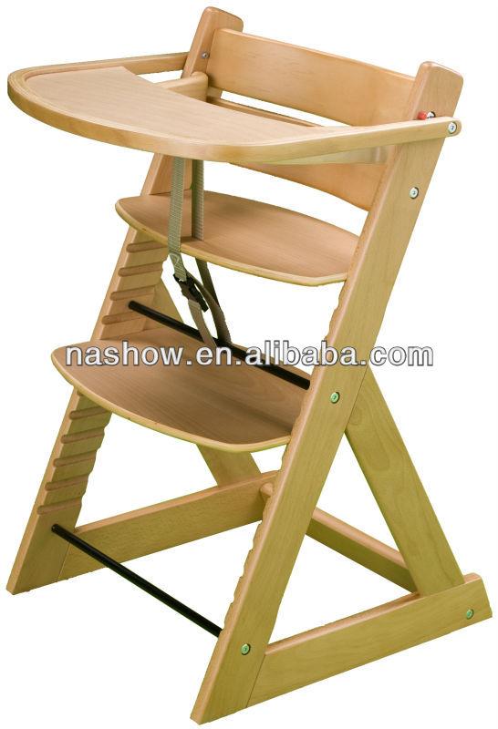Natural de madera silla alta de beb sillitas para bebes for Silla de bebe de madera
