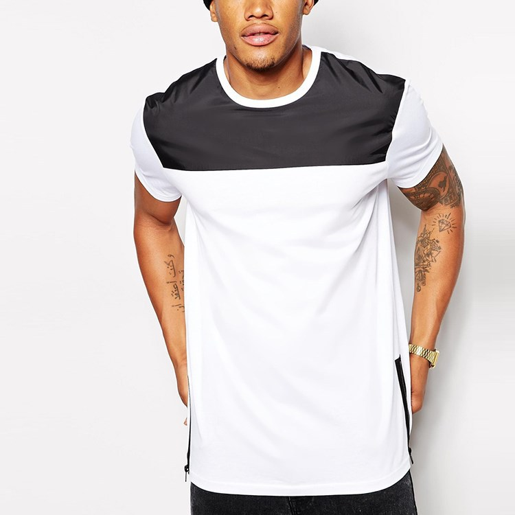 man longline side zip white custom made t-shirt