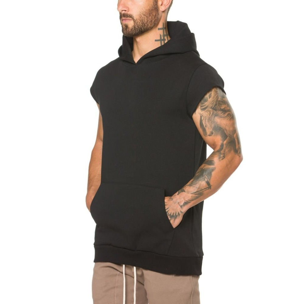 AHD112 Mens Pullover Short Sleeve Hip Hop Drop Shoulder Fleece Hoodie With Kangaroo Pocket Made in China
