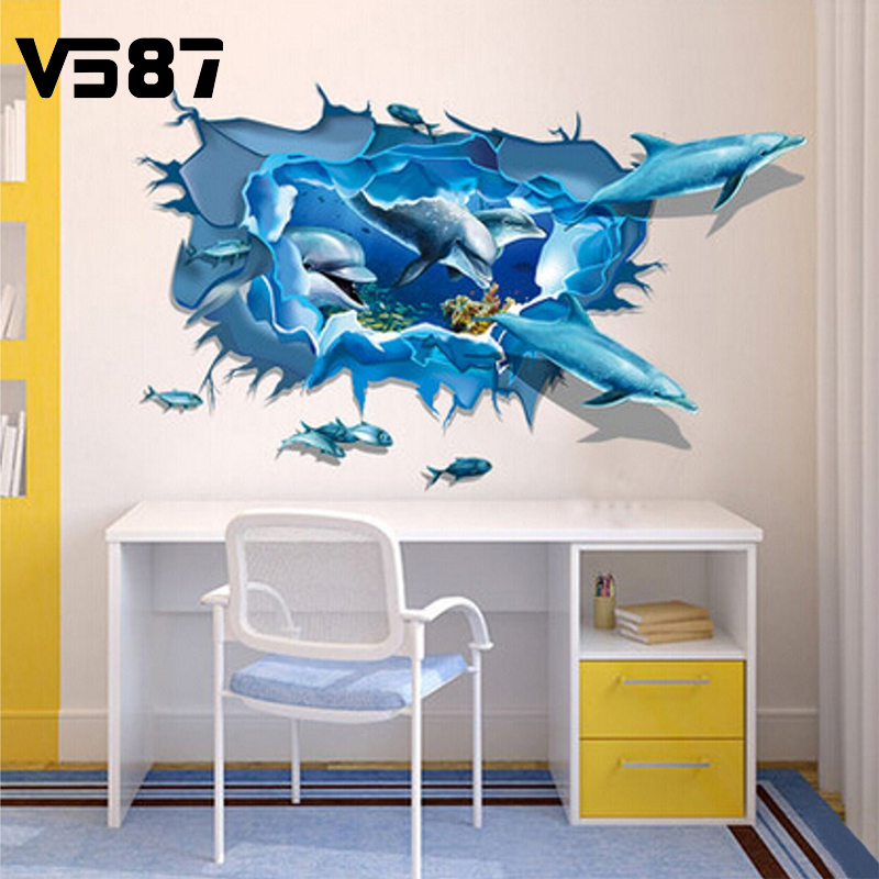 Cute Dolphin 3D Sea Ocean Removable Vinyl Wall Sticker Kid Room Home Decor Decal Mural DIY Decoration