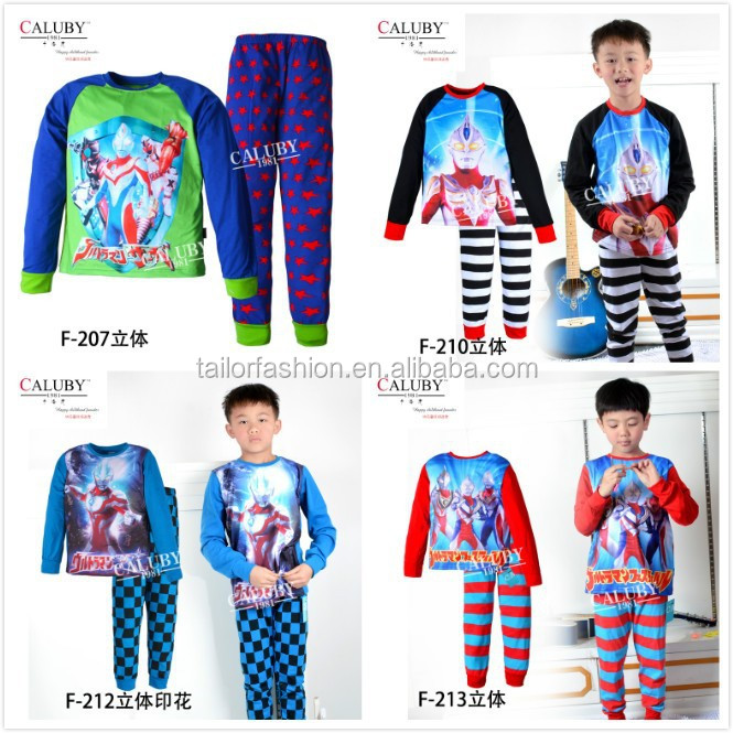 2015 New Wholesale Children UItraman pajamas kid Boys pyjamas sets Kids long sleeves sleepwear